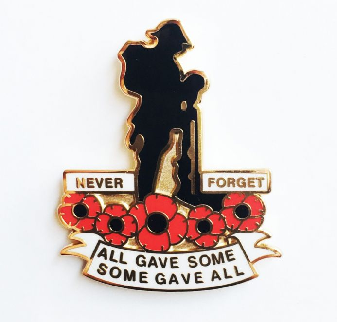Soldier and Poppies Remembrance Day Lapel Badge